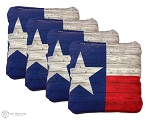 4 Wood Grain Texas Flag Premium Cornhole Bags