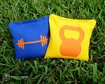 Set of 8 Barbell & Kettlebell Classic Series Cornhole Bags