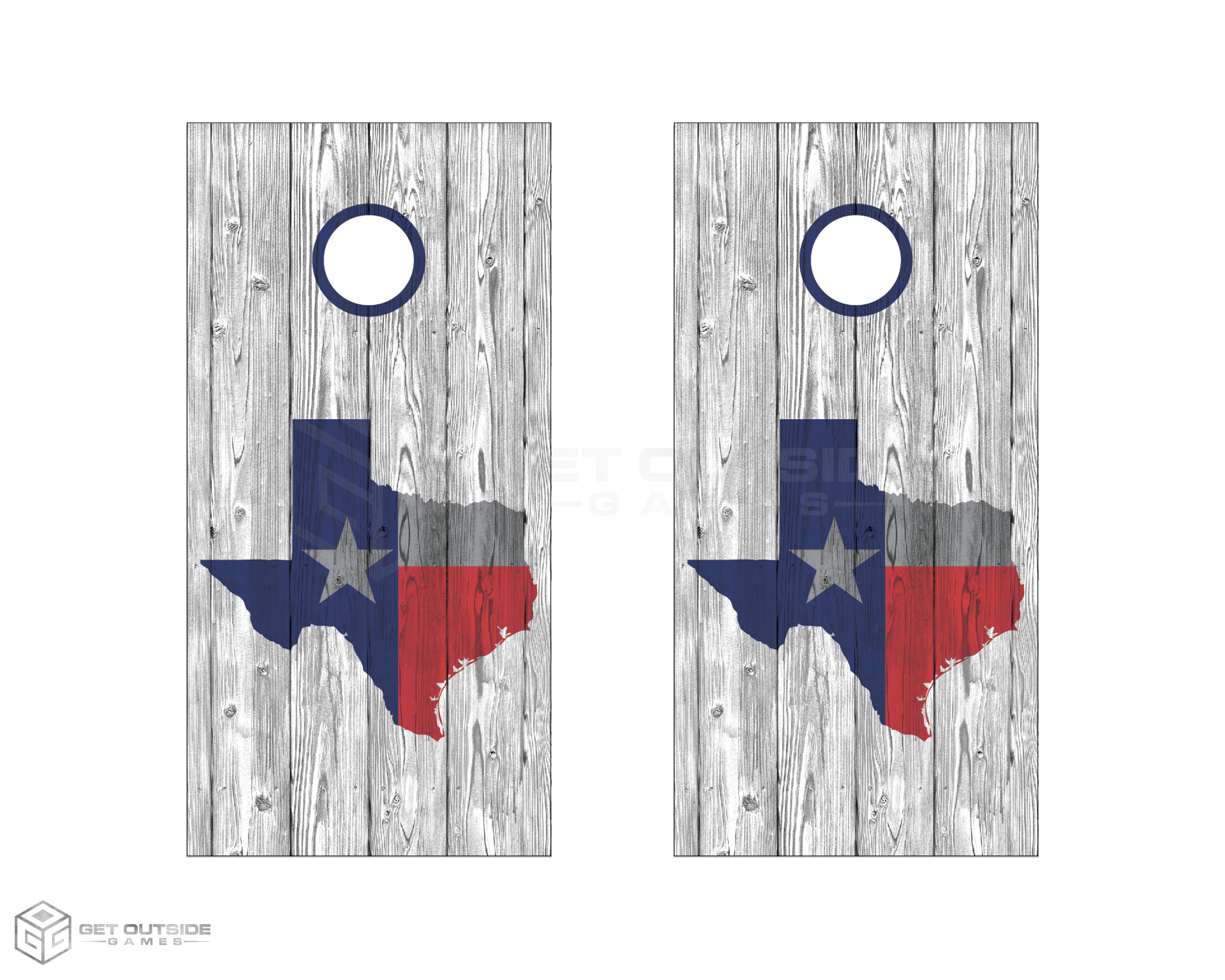 Wood Grain Texas Cornhole Boards