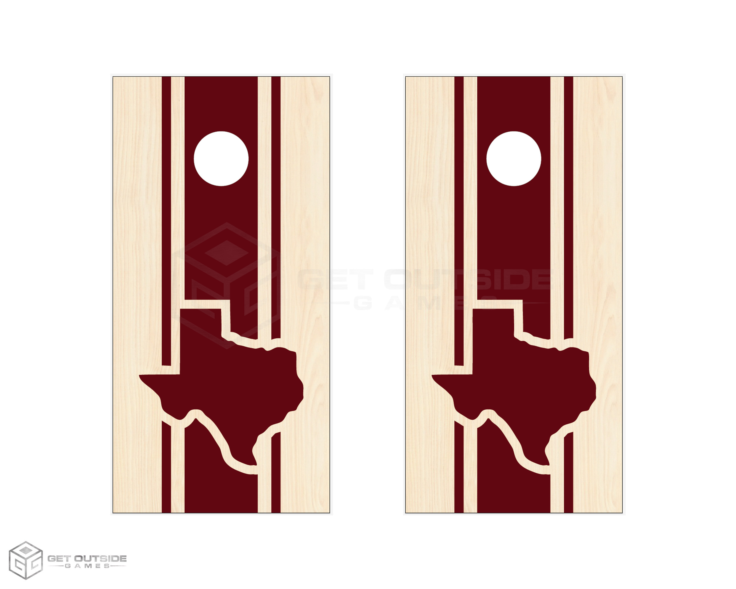 Texas Triple Center Stripe Cornhole Boards - Stain Series