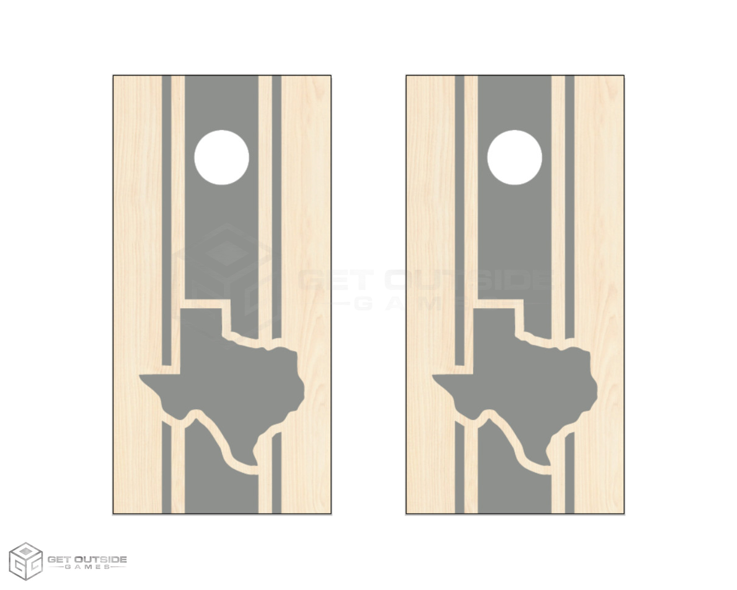 Texas Triple Center Stripe Cornhole Boards - Gray