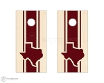 Texas Triple Center Stripe Cornhole Boards - Maroon