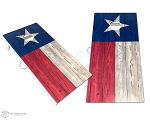 Texas Flag Cornhole Boards - Wood Grain