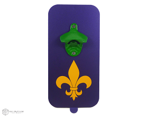 Mardi Gras Magnetic Bottle Opener w/ Powder Coated Opener