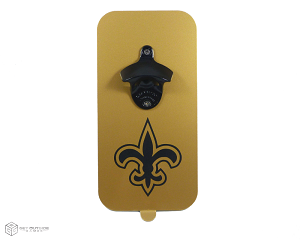 Fleur de Lis Magnetic Bottle Opener w/ Powder Coated Opener | Black & Gold