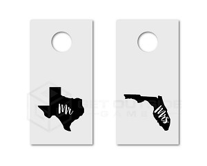 Mr & Mrs State Cornhole Board Decals | Choose Your States | Set of 2 | 30 Color Options
