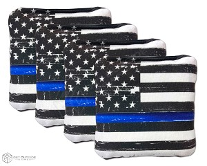 4 Distressed Thin Blue Line Flag Premium Cornhole Bags