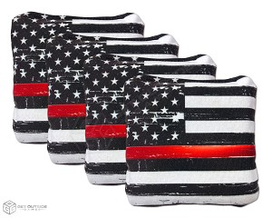 4 Distressed Thin Red Line Flag Premium Cornhole Bags