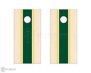 Triple Center Stripe Cornhole Boards - Green & Yellow