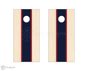 Tri Center Stripe Cornhole Boards - Navy & Red-SCRATCH&DENT